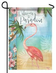 flamingo garden flags. Delighful Garden Welcome To Paradise Flamingo Garden Flag And Flags