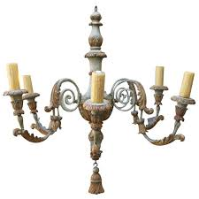 wood and metal chandelier. Six-Light Italian Carved Wood And Metal Chandelier