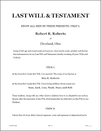 Wills Templates Printable Sample Last Will And Testament Template ...