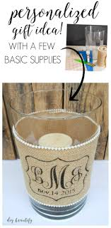 Creative diy personalized water bottle ideas Bottle Labels Save Money And Make Your Own Beautiful Personalized Wedding Gifts Like This Burlap Monogram Candle Diy Beautify Diy Idea For Custom Wedding Gifts candle Holder With Burlap