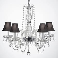 empress crystal 5 light clear crystal chandelier with black shades
