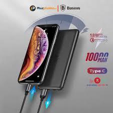 Sạc dự phòng không dây iPhone 10000mAh Baseus S10 hỗ trợ sạc không dây 10W  và sạc nhanh PD3.0 QC 3.0 18w - Phúc Phụ Kiện
