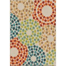 orian rugs polka circles multi 8 ft x 11 ft indoor outdoor area rug 355789 the home depot