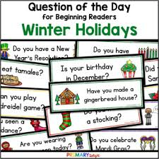 Winter Holidays Question Of The Day Pocket Chart Cards