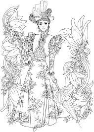 creative haven art nouveau fashions coloring book dover publications
