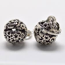 vintage thai sterling silver hollow bell charms pendants for jewelry making ster l008 143