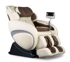 massage chair back. osaki os-4000 zero gravity massage chair in white and brown profile view back