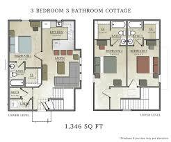 ... 1 3 Bedroom Cottage Floor Plans Cabin Bright Inspiration