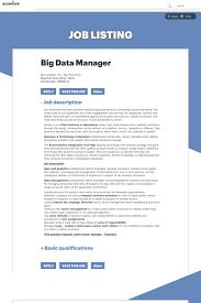 job description data manager big data manager job at accenture in san francisco ca 13434857