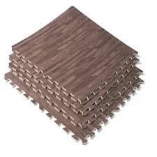 com 48 sq ft interlocking dark wood grain eva mats foam flooring gym exercise new sports outdoors