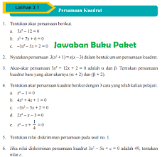 Buku paket fikih kelas 11 untuk ma kurikulum 2013. Lengkap Kunci Jawaban Buku Paket Matematika Latihan 2 1 Persamaan Kuadrat Halaman 81 82 Kelas 9 Kurikulum 2013 Jawaban Buku Paket