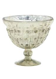mercury glass vase compote bowl in silver gold 5 tall x 6 round color