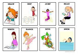 Verb Action Action Verbs Flash Cards Set 1 English Esl Worksheets