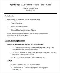 Agenda Format Sample Meeting Outline Sample Agenda Outline Samples Sample