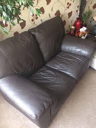 two milano chocolate colour leather sofas