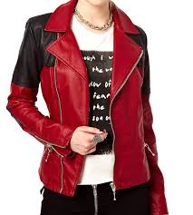 cross stiched contrast women s biker leather jacket