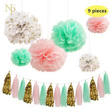 nicro mint green paper flowers paper fresh pink gold dot tassel garland diy gender reveal party decorative supplies simple birthday decorations soccer