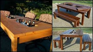 diy outdoor table with cooler. Patio Table With Built In Cooler For Sale Fire Pit On Furniture Diy Outdoor O