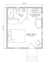 Small house plan for outside guest house. Make that a Murphy bed with  bookcases built