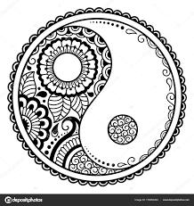 Circulaire Patroon Yin Yang Decoratieve Symbool Mehndi Stijl