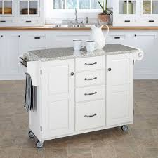 Kitchen Carts With Granite Top Create A Cart White Kitchen Cart With Salt And Pepper Granite Top