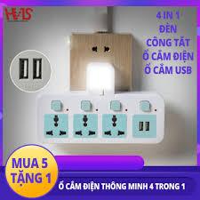 Ổ cắm điện và USB kết hợp đèn ngủ thông minh đẹp mắt 3 ổ cắm điện và 2 cổng  USB