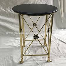 china modern metal end table black mdf round table top gold frame side