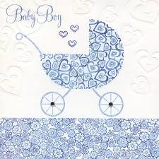 Blue Pram Hearts New Baby Boy Card Karenza Paperie