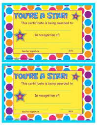Youre A Star End Of The Year Certificates Kindergarten