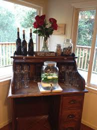 turn old roll top desk into a bar station rustic edition