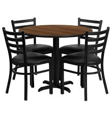36 inch round walnut laminate dining table and chair set with 4 black chairs of1hd1032