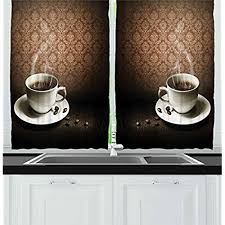 Coffee Cup Kitchen Curtains