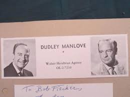 """DUDLEY MANLOVE (EROS IN """"PLAN 9 FROM OUTER SPACE"""") AUTOGRAPH & 1950's  CASTING AD 