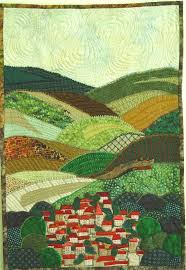 Resultado de imagen de landscapes patchwork | Irish Quilt Ideas ... & Small town w/patchwork hills art quilt Adamdwight.com