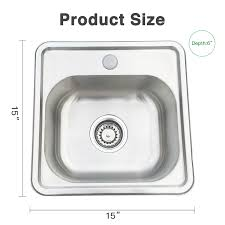 15x15 Single Bowl 16 Gauge Stainless Steel Kitchen Sink Undermount