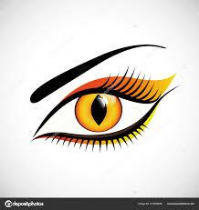 Eye Cat Design Woman Eye Close Up Cat Design Contact Lens Stock Vector