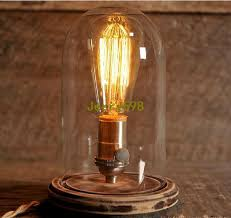 2018 glass dome bell jar desk lamp wooden base stonehill design edison table lamp from jerry598 80 64 dhgate com