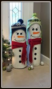diy log snowmen these are the best homemade christmas decorations craft ideas