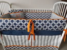 orange and navy bedding modern bed linen black gray fresh baby boy crib sets chevron pe