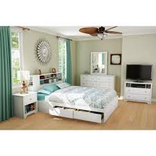 white bookcase storage bed.  Storage South Shore Vito 2Drawer QueenSize Storage Bed In Pure White And Bookcase D