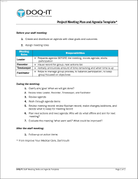 Meeting Project Meeting Agenda Template