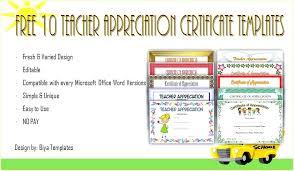 Teacher Appreciation Certificate Templates Award Template In