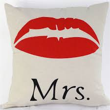 fashion pillow cover letter pillowcase mr mrs always right no filler cushions wedding comfortable cotton linen filler cover letter