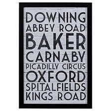 modern black white london street london street names print black frame 18 quot  on wall art street names with amazon modern black white london street london street names
