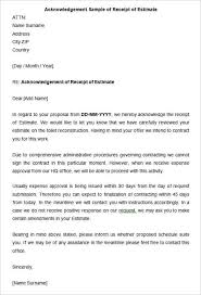 Receipt Email Template Acknowledge Receipt Email Template 34 Acknowledgement Letter