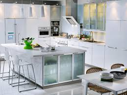 profuse large square kitchen island with frosted glass door storage also white finished kitchen cabinet set as decorate open all white kitchen innovations