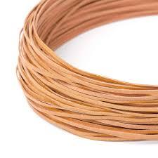 flat leather cord 120 cm dark yellow