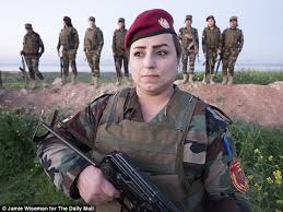 peshmerga fighter ahd mohemed pictured starts her morning by drawing on her eyebrows