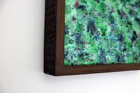 framed fused glass wall art panel close up