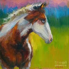 russian artist painting blue eyed paint horse oil painting print by svetlana novikova